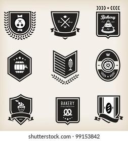 Vector set of nine various food emblems
