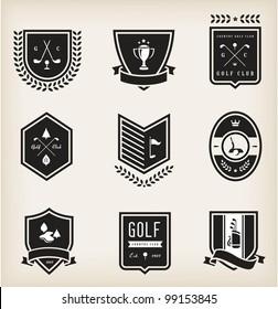 Vector set of nine various golf emblems