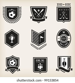 Vector set of nine various sport emblems