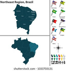 Vector set of Northeast Region of Brazil with flags and map on white background