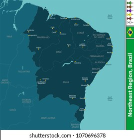 Vector set of Northeast Region of Brazil with map and neighboring states