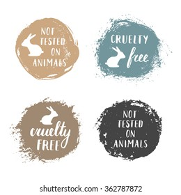Vector set of 'not tested on animals' and 'cruelty free' badges, labels, emblems, stamps.