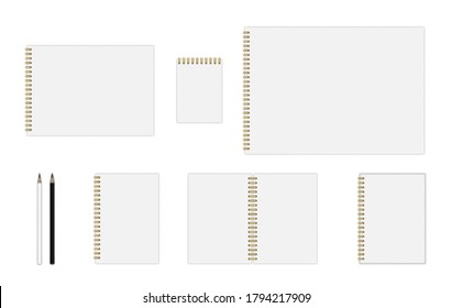 Vector set of notebook mockup (formats: A3, A4, A5, A6), hardcover notebook, with gold spiral, simple pencils. EPS 10