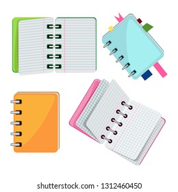 Vector set of notebooks in color covers. Transparent background
