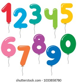 Vector set of number shaped colorful balloons for birthday cards and invitations