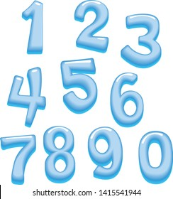 Vector set of numbers 0-9 extruded, beveled, iced style isolated on white background