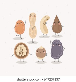 Vector set of nuts and dried fruits. Dancing orange dried apricot, peanut, almond, walnut, hazelnut, prune isolated on a white background