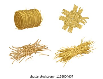 vector set of objects created from straw and hay on the farm or in the village