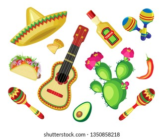 Vector set of objects for the holiday of Cinco de Mayo. Transparent background