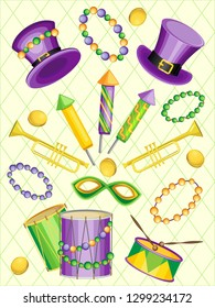 Vector set of objects for the holiday Mardi Gras. On a pastel yellow background with green contour rhombuses