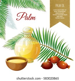 Vector set of objects on palm trees, its fruits and its application. Palm oil. Background and Label. Achieved in a realistic stile. Objects isolated