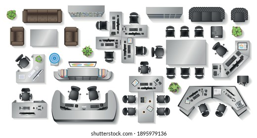 Vector set. Office furniture. (top view) Desks, chairs, cabinets, sofas, computers, conference room, reception. (view from above)