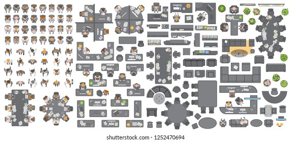 Vector set of office. People at work and office furniture. (top view) Desks, chairs, cabinets, sofas, computers, conference room, reception. Men and women in different poses. (view from above)