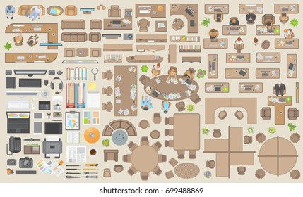 Vector set of office. People at work and office furniture. (top view) Desks, chairs, cabinets, sofas, conference room, reception. (view from above) Computers and stationery.
