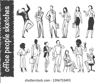 Vector set of office people workers standing and sitting isolated on white background. Hand drawn sketch style. Businessman & businesswomen. Concept for teamwork, partnership, brainstorm, success etc.