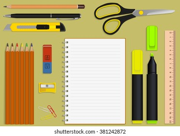 vector set office supplies