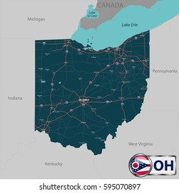 Vector set of Ohio state with roads map, cities and neighboring states