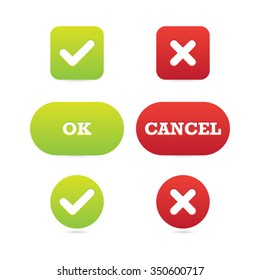Vector Set of Ok and Cancel Buttons