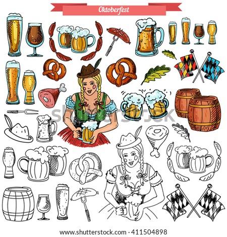 3725acf0125 Vector Set Oktoberfest Handdrawn Style Woman Stock Vector (Royalty ...
