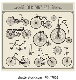 Vector set of old bikes on a gray background