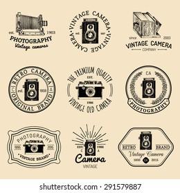 Vector set of  old cameras logos. Vintage photo studio, salon signs, labels or badges.