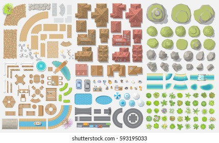 Vector set. Old city. (Top view) Vintage cityscape. (View from above) Collection for landscape design, plan, maps.