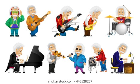 Vector set of old man singing, listening to music, playing guitar, saxophone, drum, piano, violin, mixing music on turntables, working on laptop. Vector illustration isolated on white background.