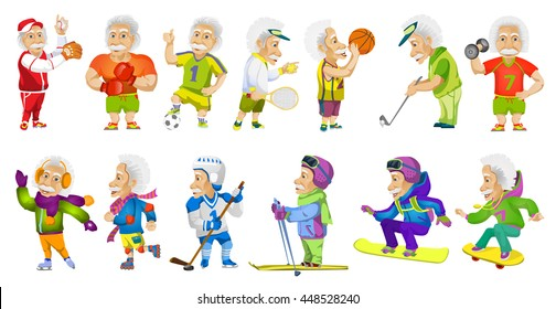 Vector set of old man wearing sport uniform and using sports equipment. Old man is playing football, hockey, baseball, basketball, tennis, golf. Vector illustration isolated on white background.