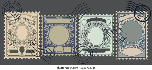 Vector Set of Old Postage Stamps Backgrounds