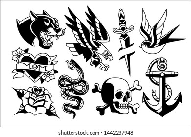 Vector Set Of Old School Tattoo Designs