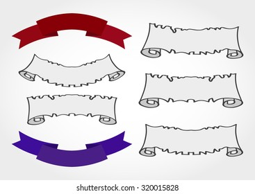 Vector set of old tattered banners and colored ribbons.