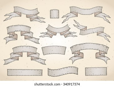 Vector set of old tattered banners with texture. In light colors.