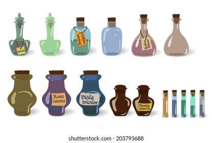 Vector set of old (vintage) potions (bottles) with and without labels
