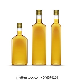 Vector Set of Olive or Sunflower Oil Glass Bottles Isolated on White Background