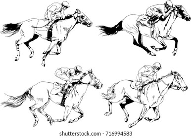 vector set on a horse racing theme sketches drawn in ink freehand logo