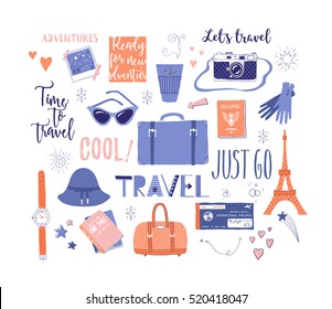 Vector set on the theme of travel , vacation, adventure. Retro 50's style. Hand drawn, travel lettering. Suitcase, bag, camera, clothes and other stuff. Doodles.