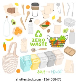 vector set on the theme zero waste, save the planet, no plastic, isolated elements including shopping bag, coffee cup, glass, paper dishes, organic, eco food, waste sorting, metal and bamboo straw