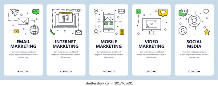 Vector set of onboarding screens for mobile apps. Vertical banners with email, internet, mobile and video marketing, social media concept website templates. Thin line flat design icons for web menu.