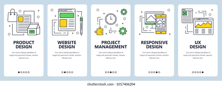 Vector set of onboarding screens for mobile apps. Vertical banners with Product, website design, Project management, Responsive design and ux design concept website templates. Thin line flat for web.