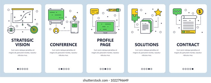 Vector set of onboarding screens for mobile apps. Vertical banners with Strategic vision, Conference, Profile page, Solutions and Contract website templates. Modern thin line flat style design.