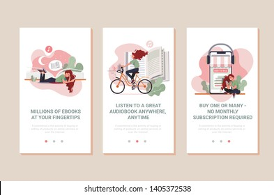 Vector set of onboarding screens for mobile audiobooks and ebooks apps. Banners with Tutorials, Study program, Digital library, Professional training, Share ideas concept web