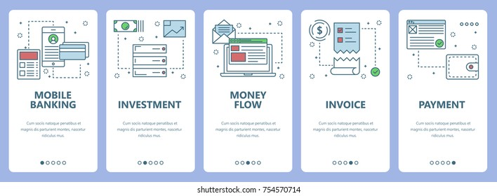 Vector set of onboarding screens for mobile apps. Vertical banners with Mobile banking, Investment, Money flow, Invoice, Payment concept web elements. Modern thin line flat icons for website menu.