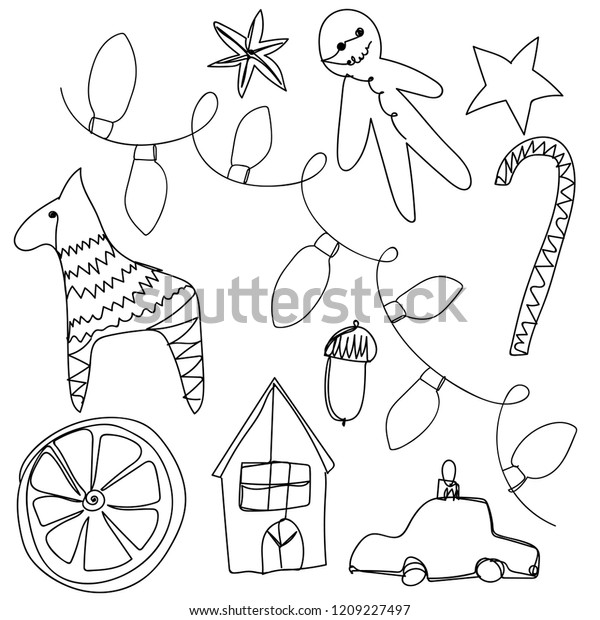 Drawings Of Christmas Ornaments.Vector Set One Line Christmas Drawings Stock Vector Royalty