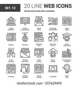 Vector set of online education and e-learning line web icons. Each icon with adjustable strokes neatly designed on pixel perfect 64X64 size grid. Fully editable and easy to use