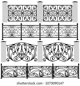 Vector set of openwork forged fences.