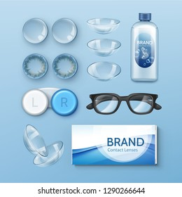 Vector set of optometry realistic accessory for vision. Illustration of glasses, transparent and colored contact lenses with box and solution in bottle isolated on background