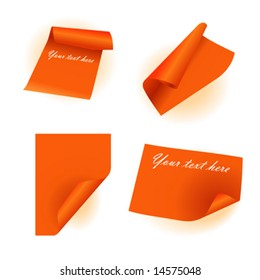 Vector set of orange paper