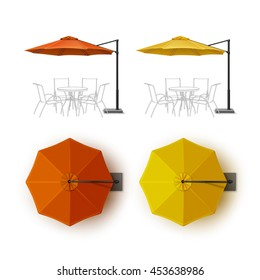 Vector Set of Orange Yellow Blank Patio Outdoor Beach Cafe Bar Pub Lounge Restaurant Round Umbrella Parasol for Branding Top Side View Mock Up Close Isolated on White Background