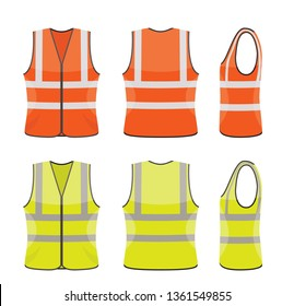 vector set of orange and yellow safety vests isolated on white background. reflective safety vest jacket. icon of safe uniform for workers