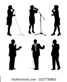 Vector set of orator silhouettes